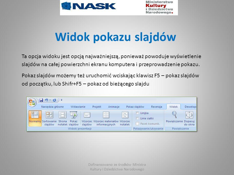 Widok pokazu slajdów Ta opcja widoku jest opcją najważniejszą, ponieważ powoduje wyświetlenie slajdów na całej powierzchni ekranu komputera i przeprowadzenie pokazu.