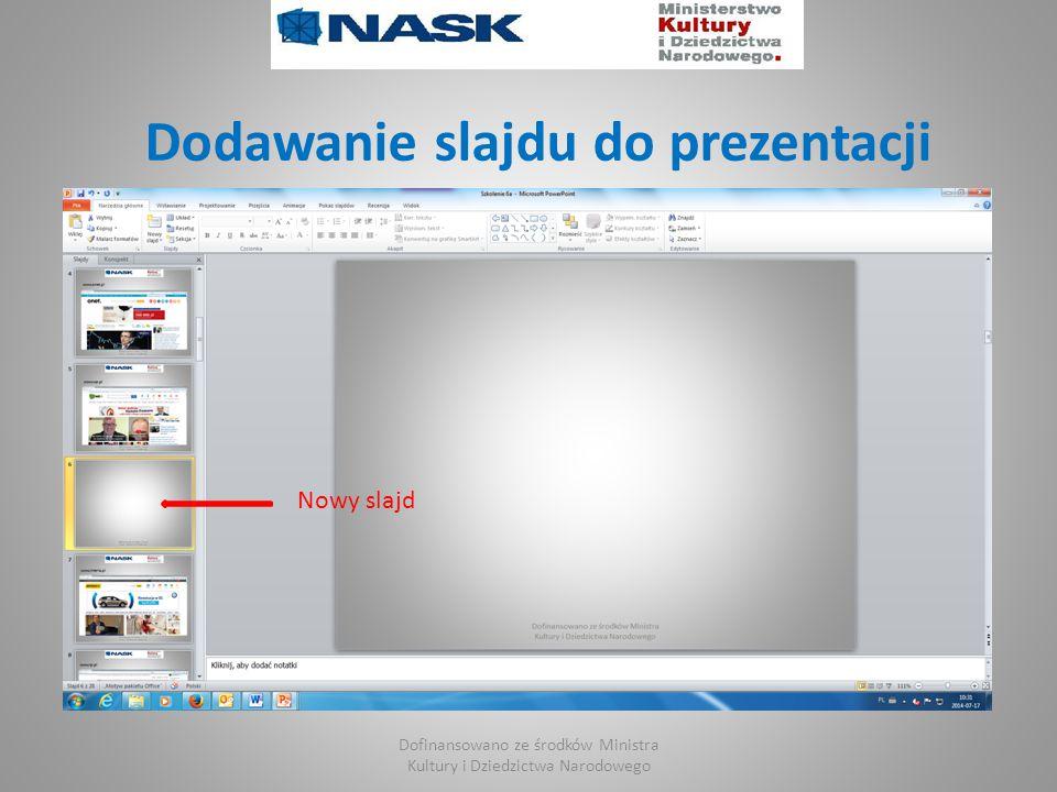 Dodawanie slajdu do prezentacji Dofinansowano ze środków Ministra Kultury i Dziedzictwa Narodowego Nowy slajd