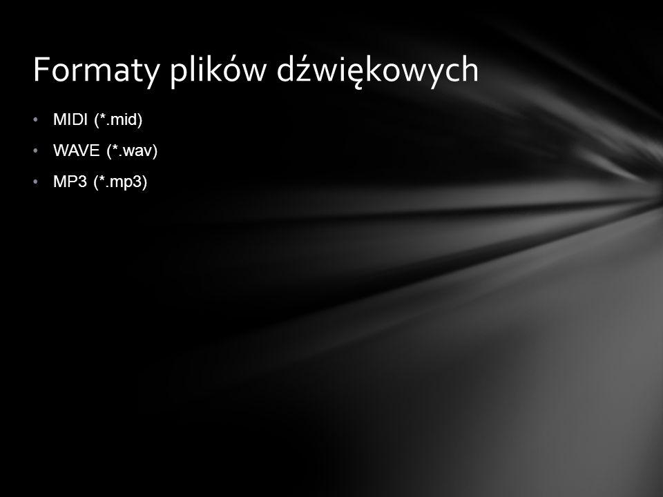 MIDI (*.mid) WAVE (*.wav) MP3 (*.mp3) Formaty plików dźwiękowych