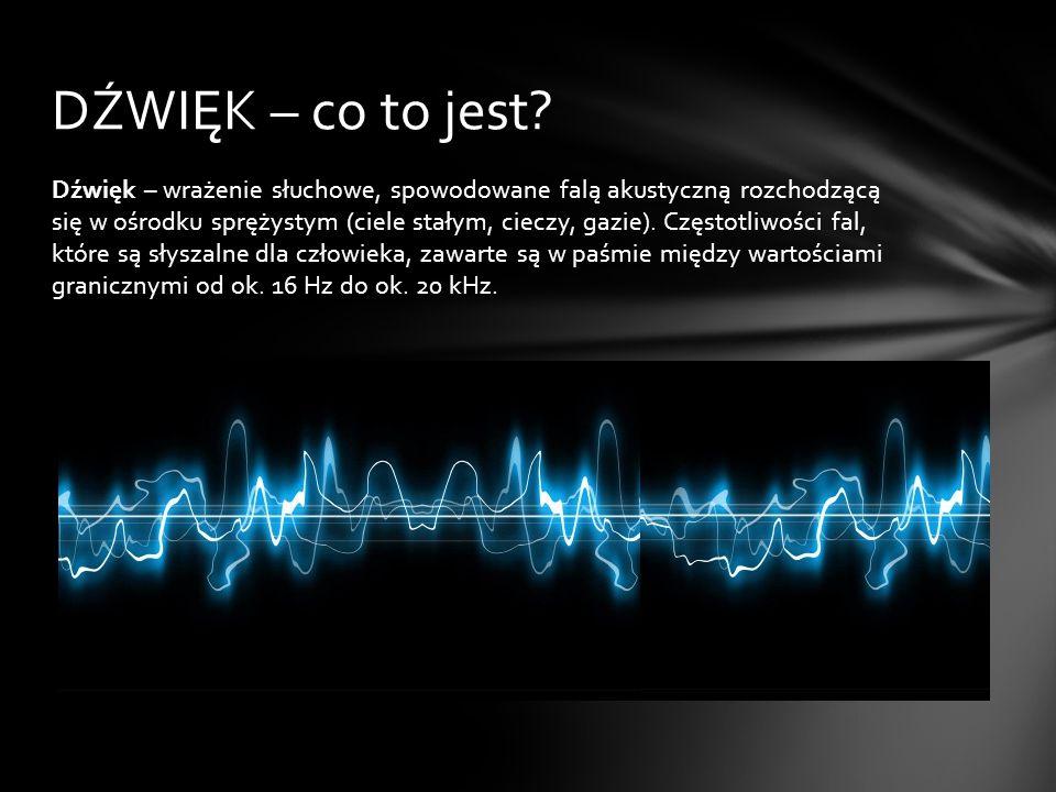 Dźwięk – wrażenie słuchowe, spowodowane falą akustyczną rozchodzącą się w ośrodku sprężystym (ciele stałym, cieczy, gazie). Częstotliwości fal, które