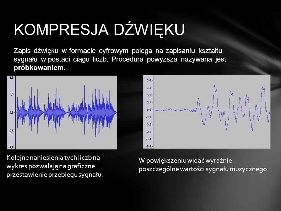 Zapis dźwięku w formacie cyfrowym polega na zapisaniu kształtu sygnału w postaci ciągu liczb. Procedura powyższa nazywana jest próbkowaniem. KOMPRESJA