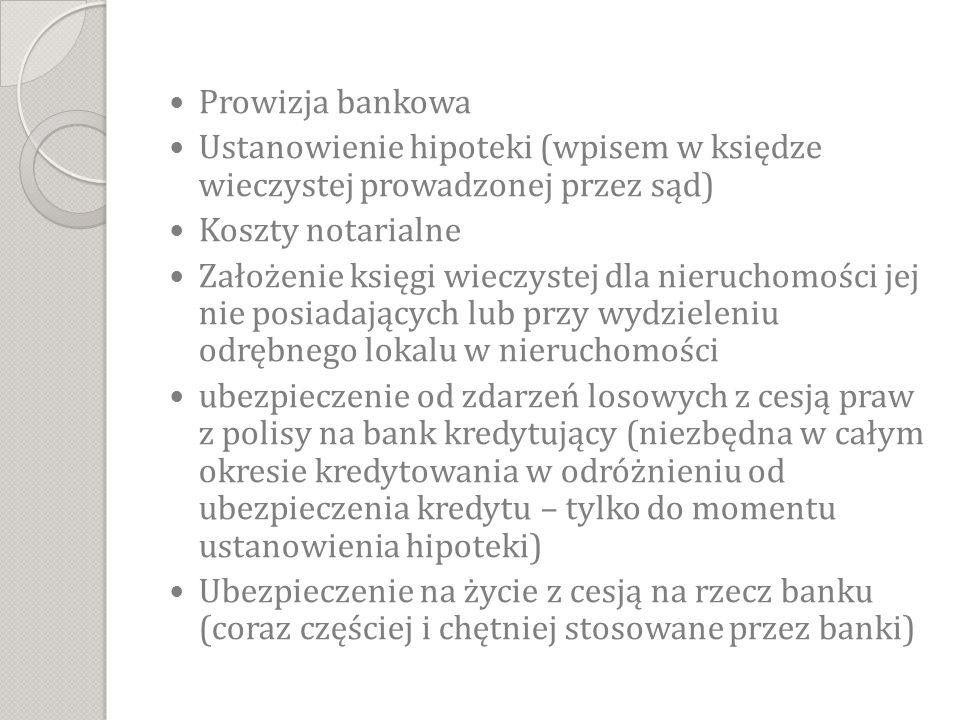 Prowizja bankowa Ustanowienie hipoteki (wpisem w księdze wieczystej prowadzonej przez sąd) Koszty notarialne Założenie księgi wieczystej dla nieruchomości jej nie posiadających lub przy wydzieleniu odrębnego lokalu w nieruchomości ubezpieczenie od zdarzeń losowych z cesją praw z polisy na bank kredytujący (niezbędna w całym okresie kredytowania w odróżnieniu od ubezpieczenia kredytu – tylko do momentu ustanowienia hipoteki) Ubezpieczenie na życie z cesją na rzecz banku (coraz częściej i chętniej stosowane przez banki)