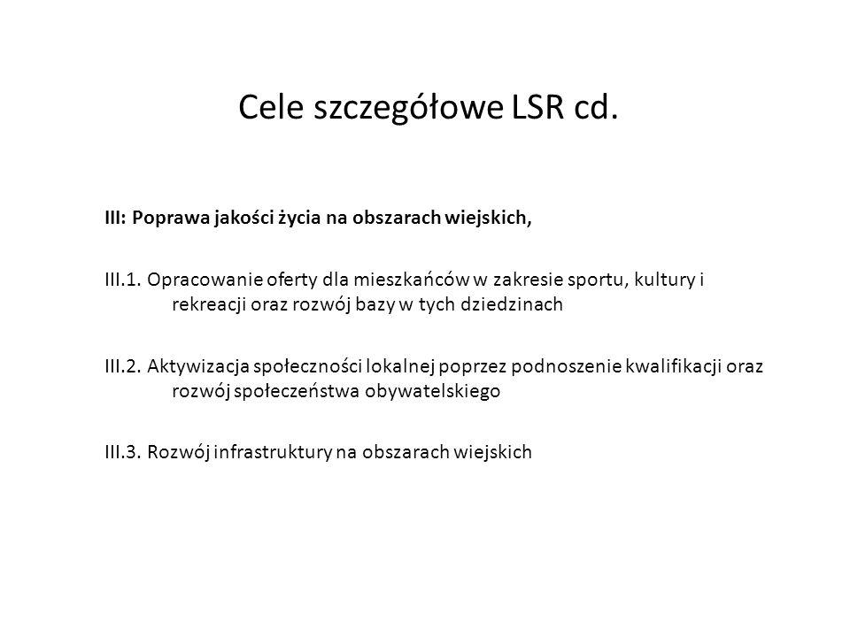 Cele szczegółowe LSR cd. III: Poprawa jakości życia na obszarach wiejskich, III.1. Opracowanie oferty dla mieszkańców w zakresie sportu, kultury i rek