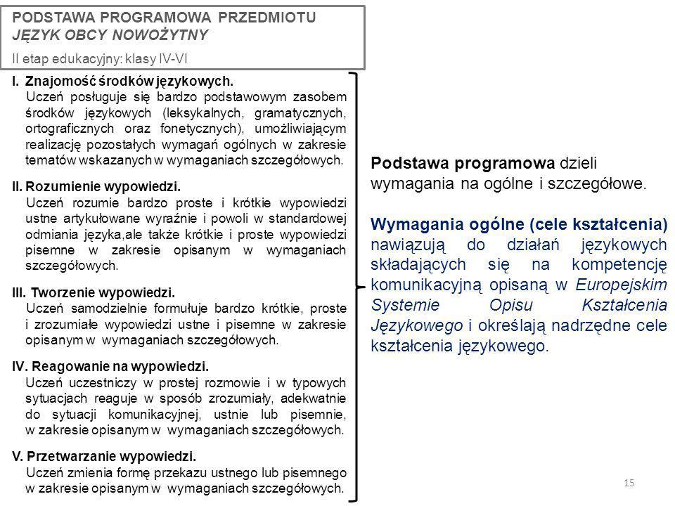15 Podstawa programowa dzieli wymagania na ogólne i szczegółowe.