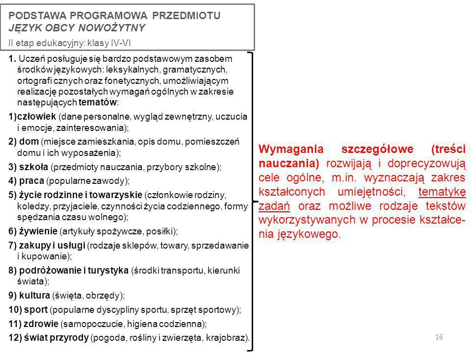 16 PODSTAWA PROGRAMOWA PRZEDMIOTU JĘZYK OBCY NOWOŻYTNY II etap edukacyjny: klasy IV-VI 1.
