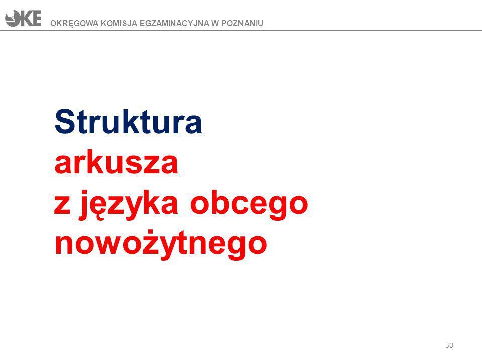 Struktura arkusza z języka obcego nowożytnego OKRĘGOWA KOMISJA EGZAMINACYJNA W POZNANIU 30