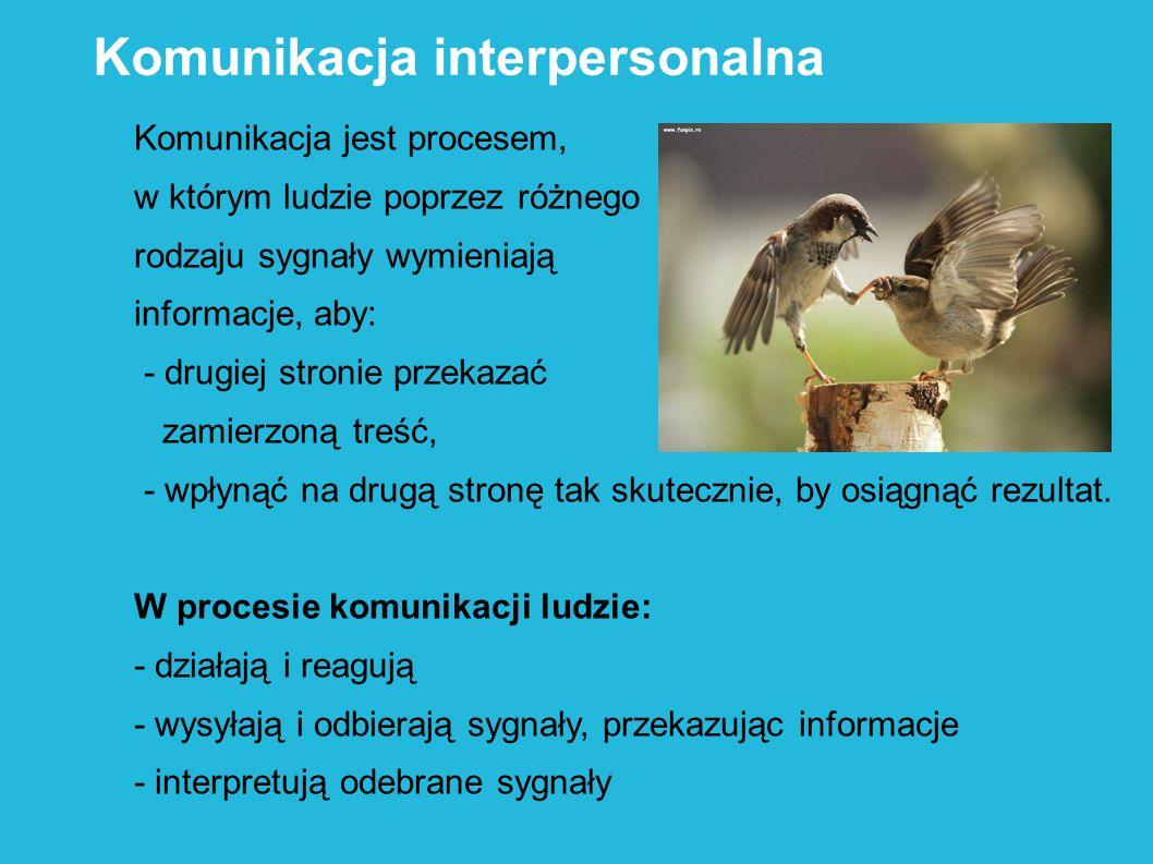 Komunikacja jest procesem, w którym ludzie poprzez różnego rodzaju sygnały wymieniają informacje, aby: - drugiej stronie przekazać zamierzoną treść, -