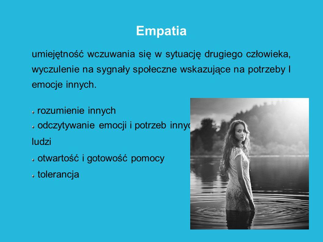 Empatia umiejętność wczuwania się w sytuację drugiego człowieka, wyczulenie na sygnały społeczne wskazujące na potrzeby I emocje innych. rozumienie in
