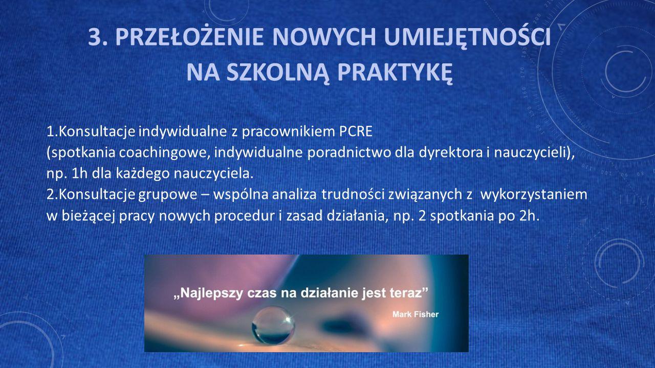 3. PRZEŁOŻENIE NOWYCH UMIEJĘTNOŚCI NA SZKOLNĄ PRAKTYKĘ 1.Konsultacje indywidualne z pracownikiem PCRE (spotkania coachingowe, indywidualne poradnictwo