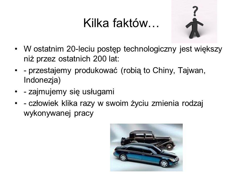 Kilka faktów… W ostatnim 20-leciu postęp technologiczny jest większy niż przez ostatnich 200 lat: - przestajemy produkować (robią to Chiny, Tajwan, In