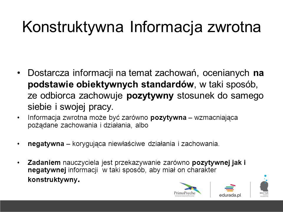 Konstruktywna Informacja zwrotna Dostarcza informacji na temat zachowań, ocenianych na podstawie obiektywnych standardów, w taki sposób, ze odbiorca z
