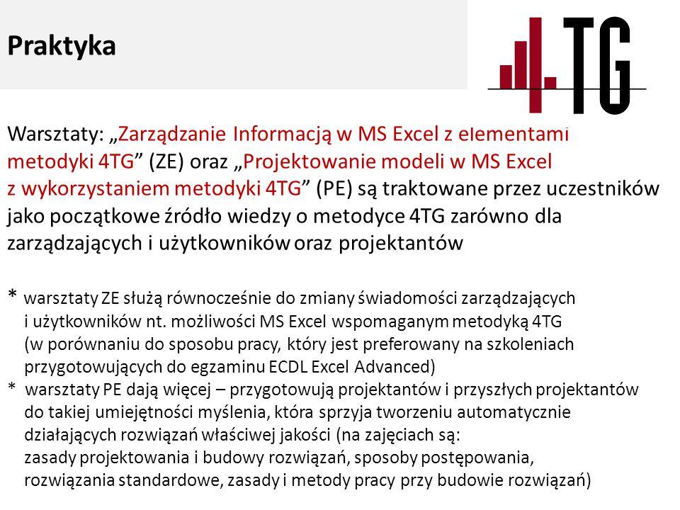 """Warsztaty: """"Zarządzanie Informacją w MS Excel z elementami metodyki 4TG (ZE) oraz """"Projektowanie modeli w MS Excel z wykorzystaniem metodyki 4TG (PE) są traktowane przez uczestników jako początkowe źródło wiedzy o metodyce 4TG zarówno dla zarządzających i użytkowników oraz projektantów * warsztaty ZE służą równocześnie do zmiany świadomości zarządzających i użytkowników nt."""