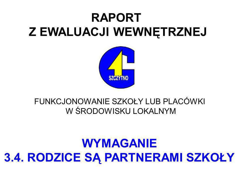 RAPORT Z EWALUACJI WEWNĘTRZNEJ FUNKCJONOWANIE SZKOŁY LUB PLACÓWKI W ŚRODOWISKU LOKALNYM WYMAGANIE 3.4.
