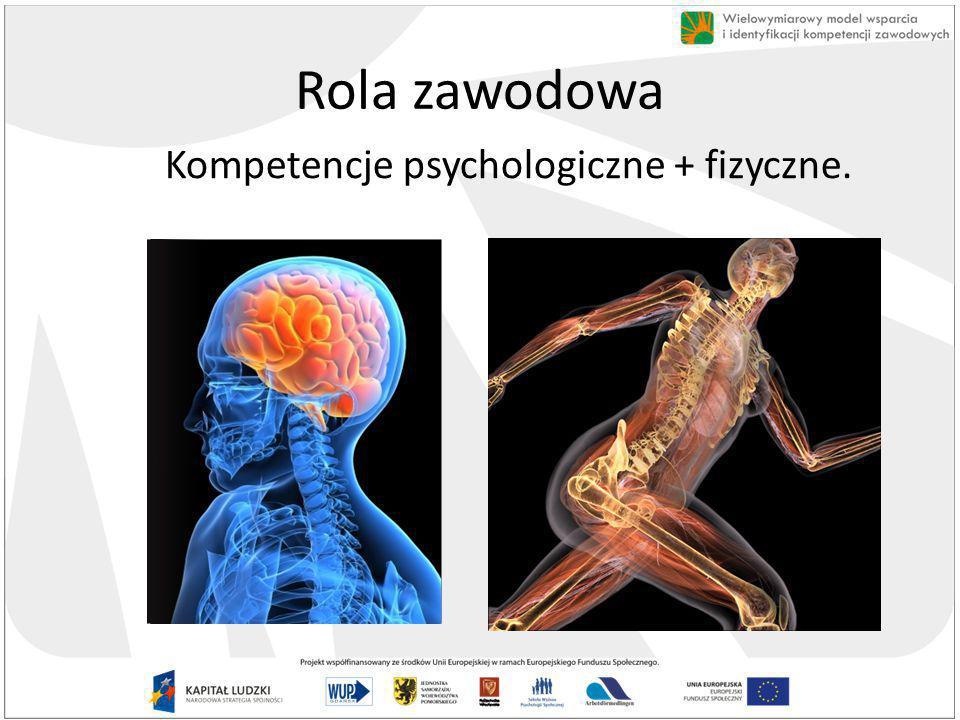 Rola zawodowa Kompetencje psychologiczne + fizyczne.