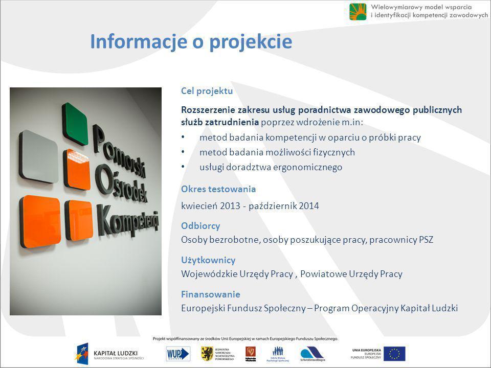 Informacje o projekcie Cel projektu Rozszerzenie zakresu usług poradnictwa zawodowego publicznych służb zatrudnienia poprzez wdrożenie m.in: metod bad