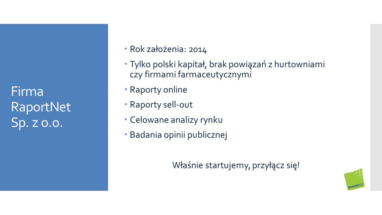 Firma RaportNet Sp. z o.o.  Rok założenia: 2014  Tylko polski kapitał, brak powiązań z hurtowniami czy firmami farmaceutycznymi  Raporty online  R