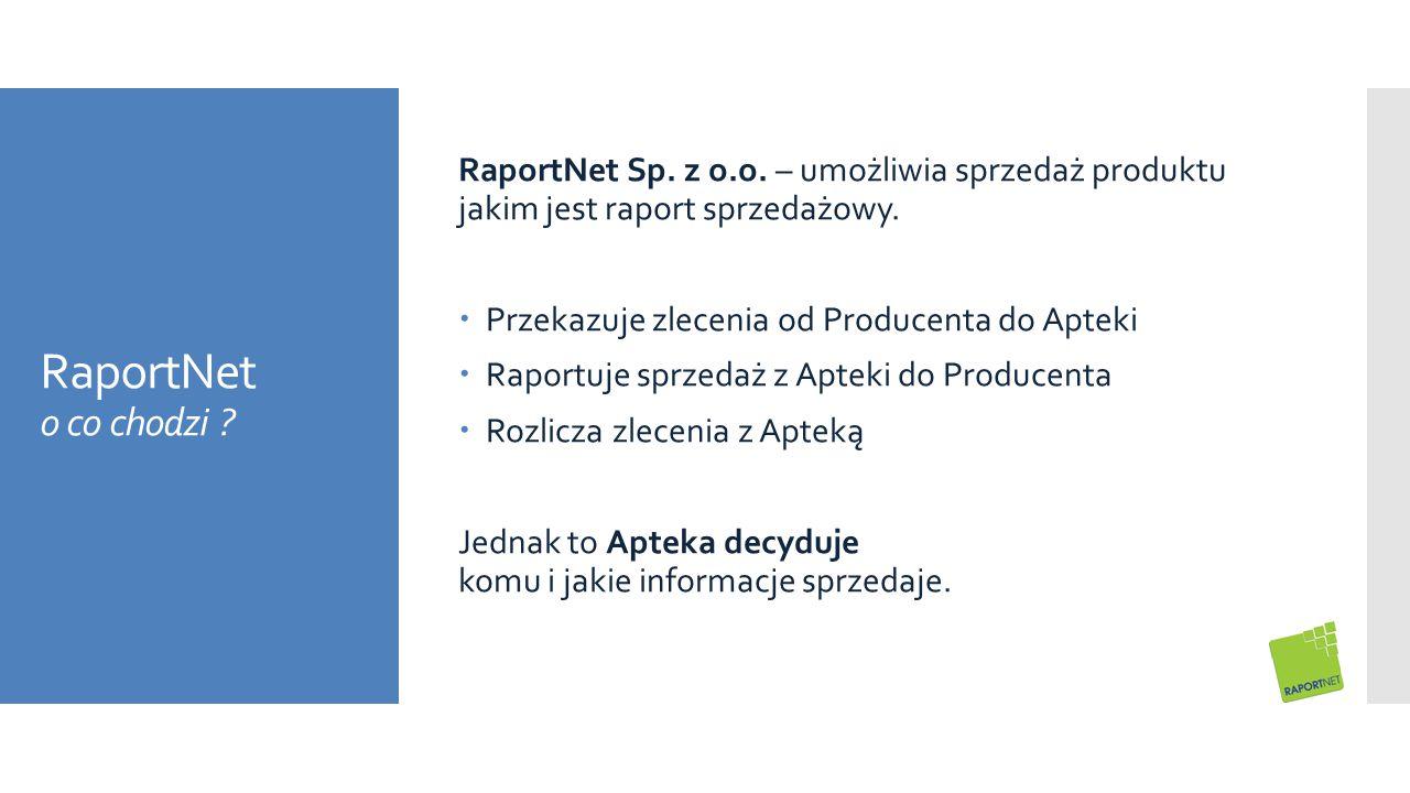 RaportNet o co chodzi ? RaportNet Sp. z o.o. – umożliwia sprzedaż produktu jakim jest raport sprzedażowy.  Przekazuje zlecenia od Producenta do Aptek