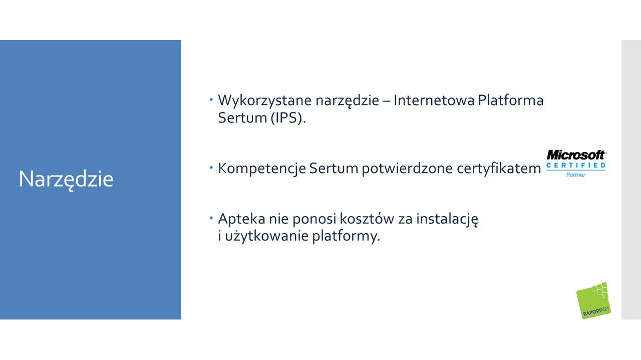 Narzędzie  Wykorzystane narzędzie – Internetowa Platforma Sertum (IPS).  Kompetencje Sertum potwierdzone certyfikatem  Apteka nie ponosi kosztów za