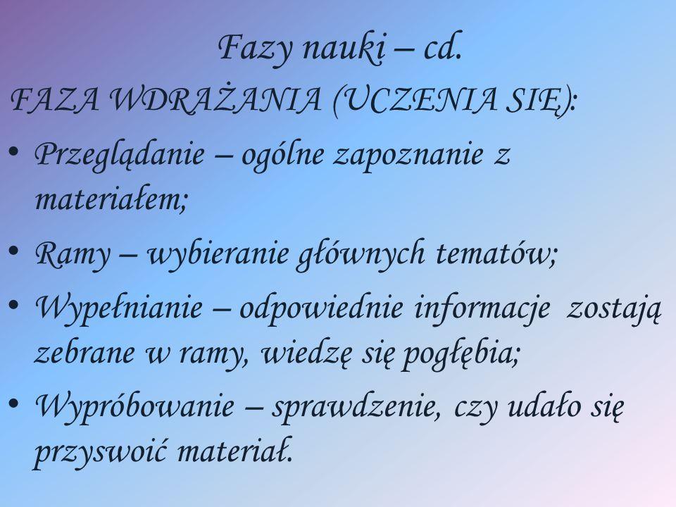 Fazy nauki – cd. FAZA WDRAŻANIA (UCZENIA SIĘ): Przeglądanie – ogólne zapoznanie z materiałem; Ramy – wybieranie głównych tematów; Wypełnianie – odpowi