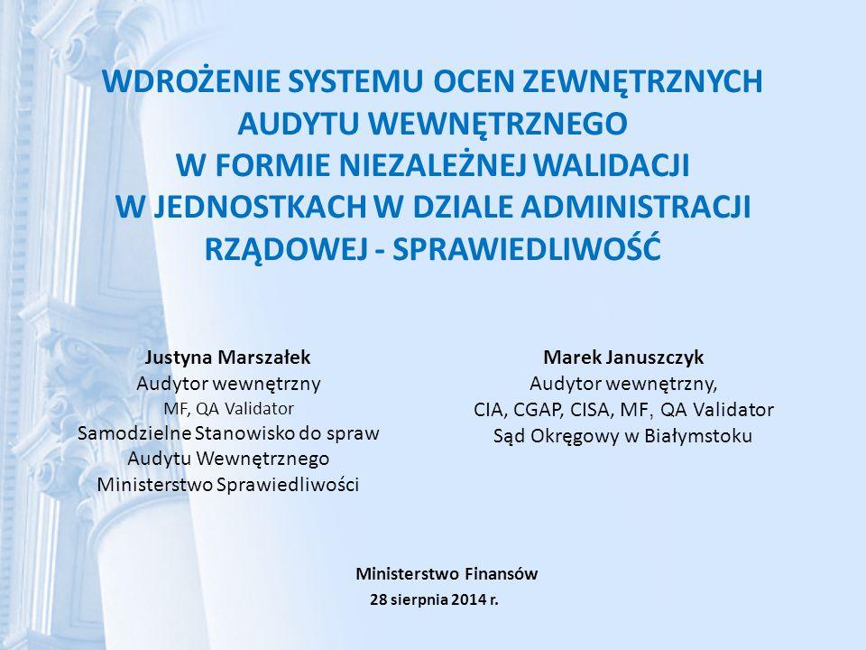 Podsumowanie – raport z walidacji Sporządzamy i pozostawiamy w jednostce Oświadczenie niezależnego walidatora po dokonaniu weryfikacji samooceny audytu wewnętrznego, Raport z walidacji w 2 egz.