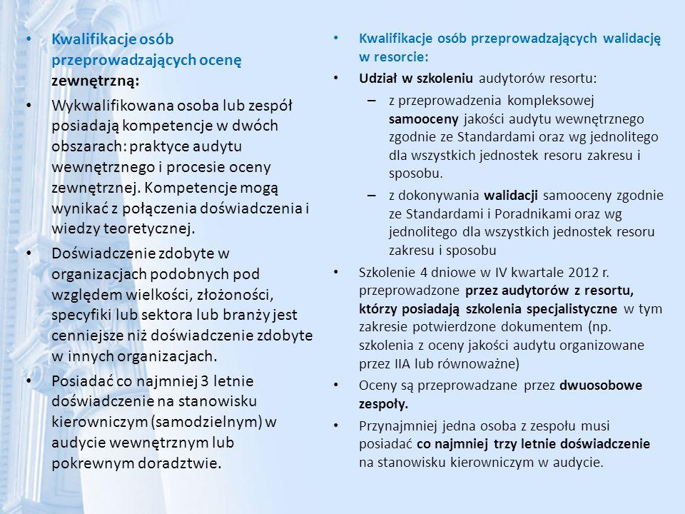 Kwalifikacje osób przeprowadzających ocenę zewnętrzną: Wykwalifikowana osoba lub zespół posiadają kompetencje w dwóch obszarach: praktyce audytu wewnę