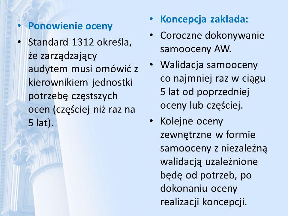 Ponowienie oceny Standard 1312 określa, że zarządzający audytem musi omówić z kierownikiem jednostki potrzebę częstszych ocen (częściej niż raz na 5 l