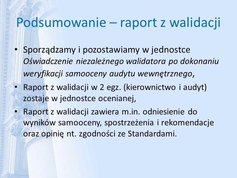 Podsumowanie – raport z walidacji Sporządzamy i pozostawiamy w jednostce Oświadczenie niezależnego walidatora po dokonaniu weryfikacji samooceny audyt