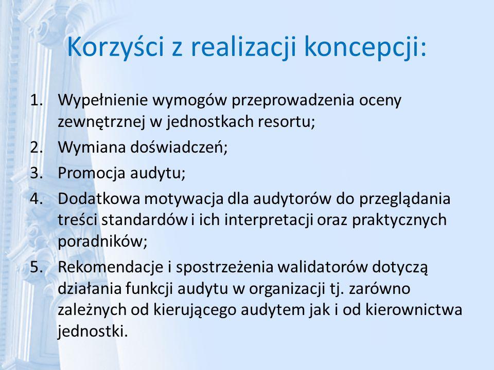 Korzyści z realizacji koncepcji: 1.Wypełnienie wymogów przeprowadzenia oceny zewnętrznej w jednostkach resortu; 2.Wymiana doświadczeń; 3.Promocja audy