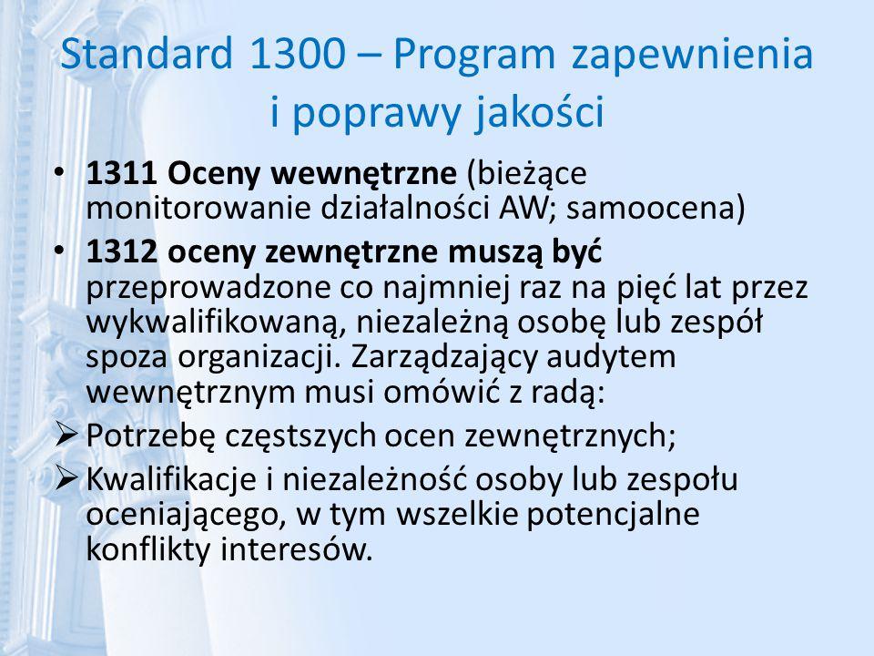 Standard 1300 – Program zapewnienia i poprawy jakości 1311 Oceny wewnętrzne (bieżące monitorowanie działalności AW; samoocena) 1312 oceny zewnętrzne m