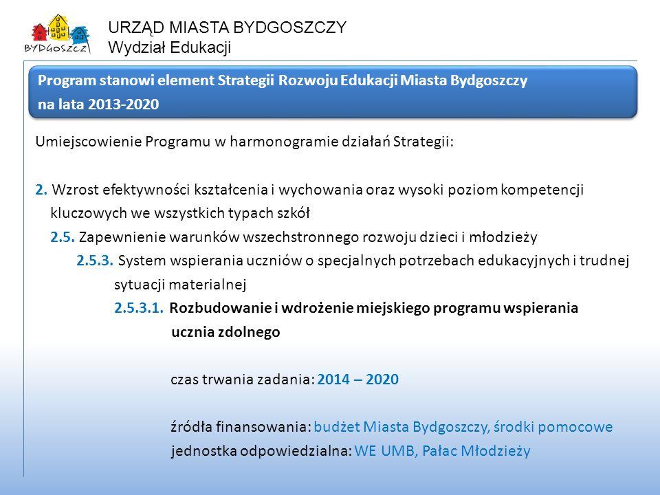 URZĄD MIASTA BYDGOSZCZY Wydział Edukacji Umiejscowienie Programu w harmonogramie działań Strategii: 2. Wzrost efektywności kształcenia i wychowania or
