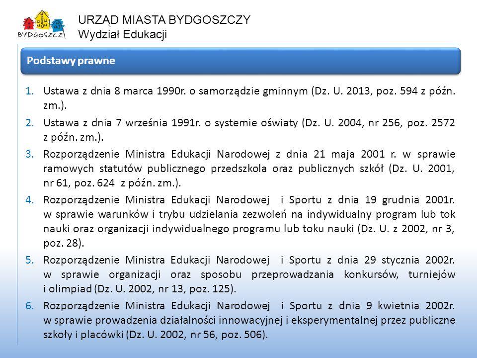 URZĄD MIASTA BYDGOSZCZY Wydział Edukacji 1.Ustawa z dnia 8 marca 1990r. o samorządzie gminnym (Dz. U. 2013, poz. 594 z późn. zm.). 2.Ustawa z dnia 7 w