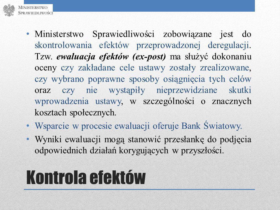 Kontrola efektów Ministerstwo Sprawiedliwości zobowiązane jest do skontrolowania efektów przeprowadzonej deregulacji.