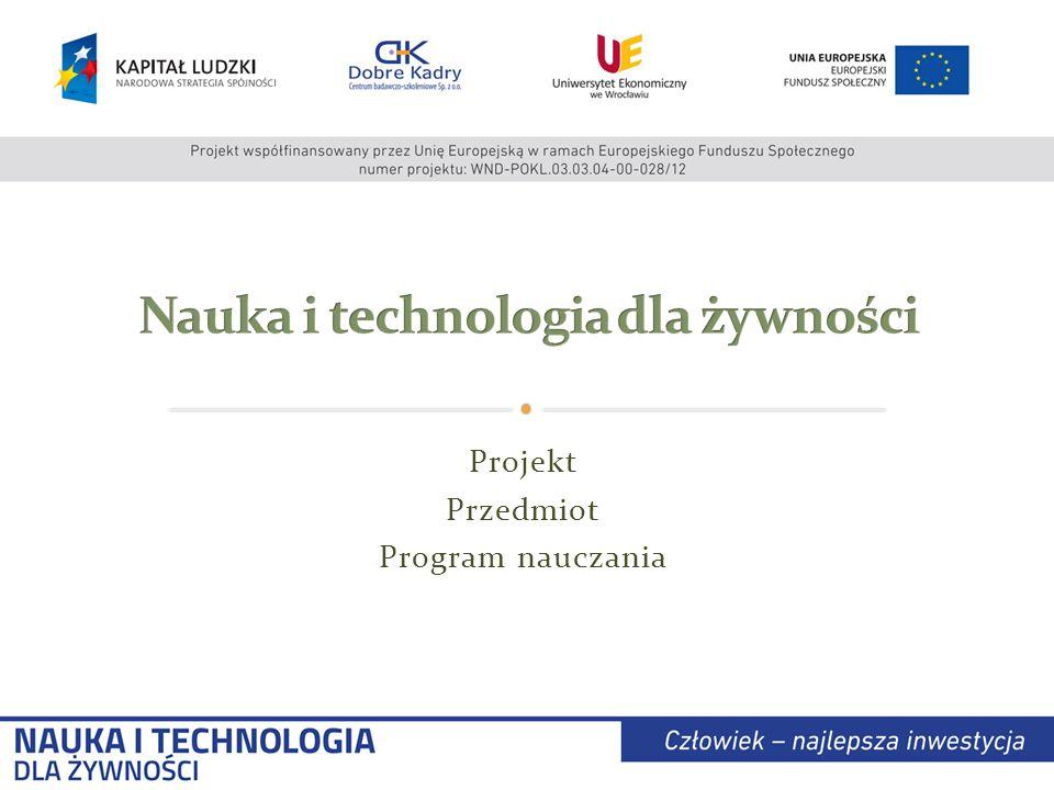 Projekt Przedmiot Program nauczania