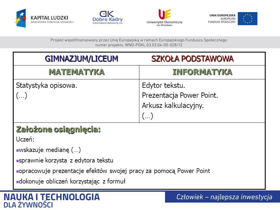 GIMNAZJUM/LICEUM SZKOŁA PODSTAWOWA MATEMATYKAINFORMATYKA Statystyka opisowa.