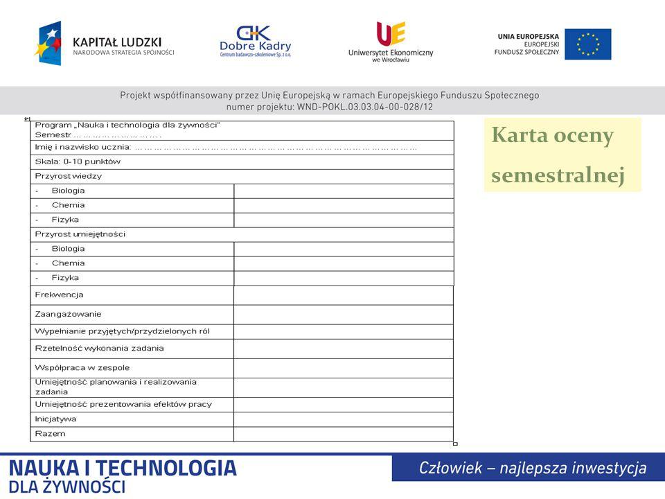 Karta oceny semestralnej