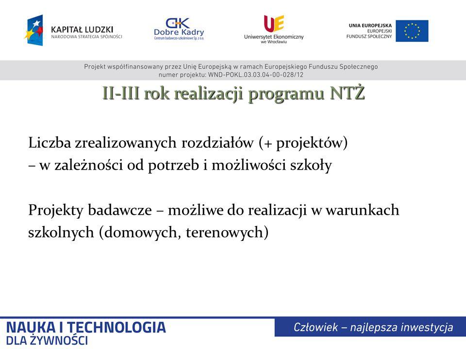 II-III rok realizacji programu NTŻ Liczba zrealizowanych rozdziałów (+ projektów) – w zależności od potrzeb i możliwości szkoły Projekty badawcze – możliwe do realizacji w warunkach szkolnych (domowych, terenowych)