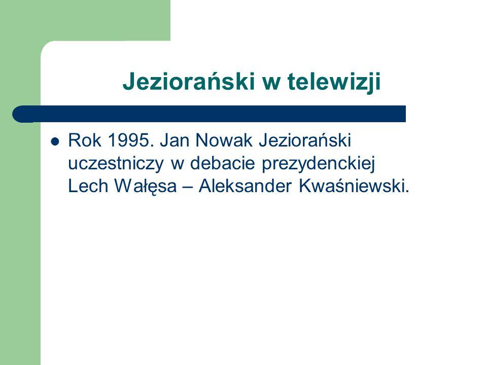 Jeziorański w telewizji Rok 1995. Jan Nowak Jeziorański uczestniczy w debacie prezydenckiej Lech Wałęsa – Aleksander Kwaśniewski.