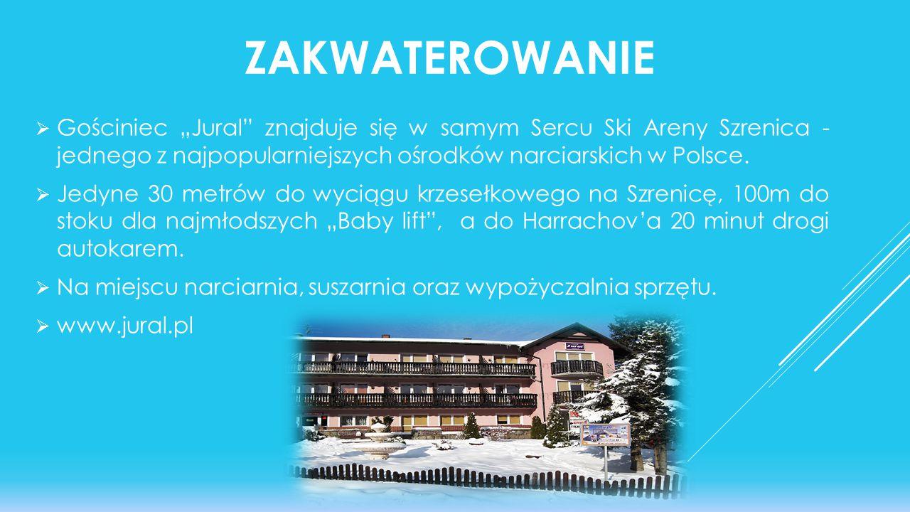"""ZAKWATEROWANIE  Gościniec """"Jural"""" znajduje się w samym Sercu Ski Areny Szrenica - jednego z najpopularniejszych ośrodków narciarskich w Polsce.  Jed"""