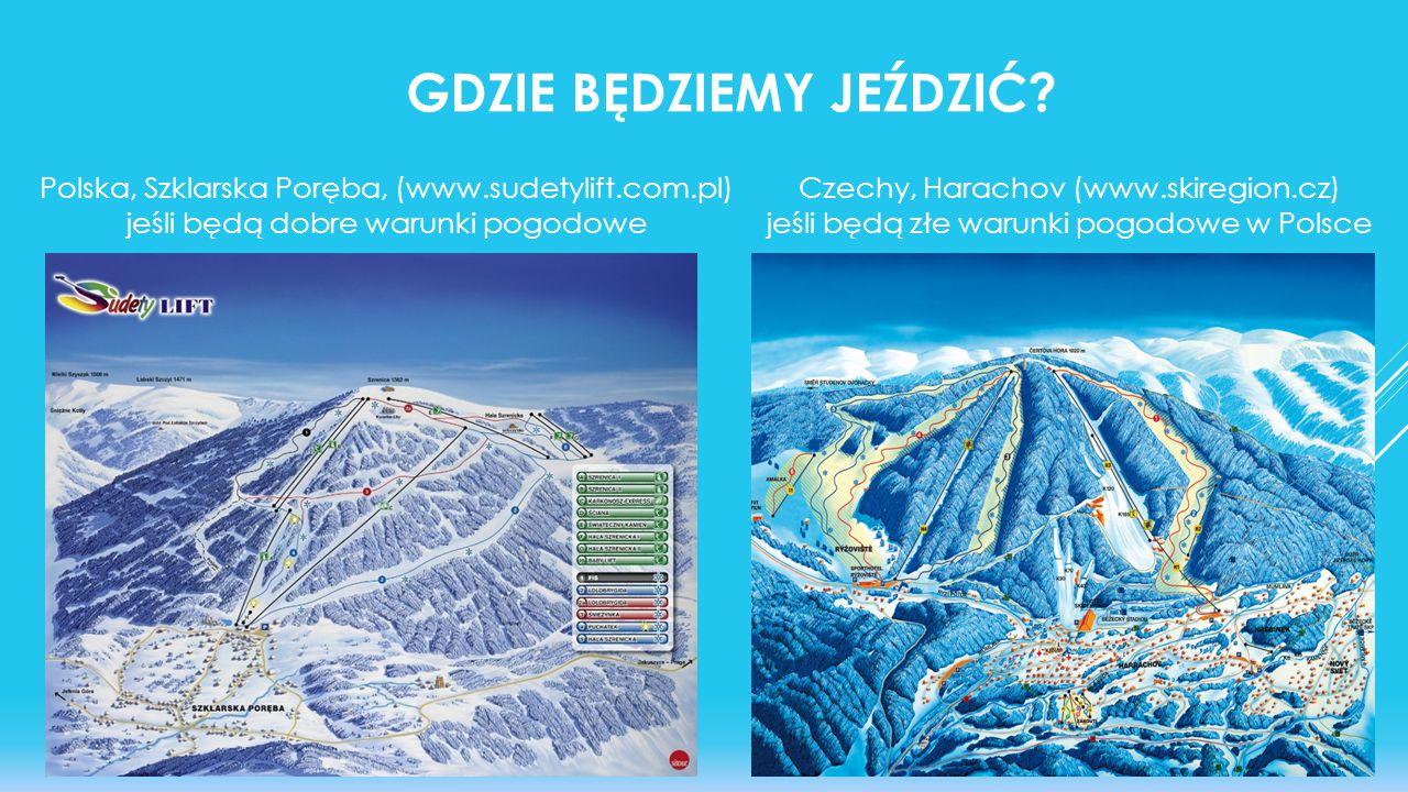 Polska, Szklarska Poręba, (www.sudetylift.com.pl) jeśli będą dobre warunki pogodowe GDZIE BĘDZIEMY JEŹDZIĆ? Czechy, Harachov (www.skiregion.cz) jeśli