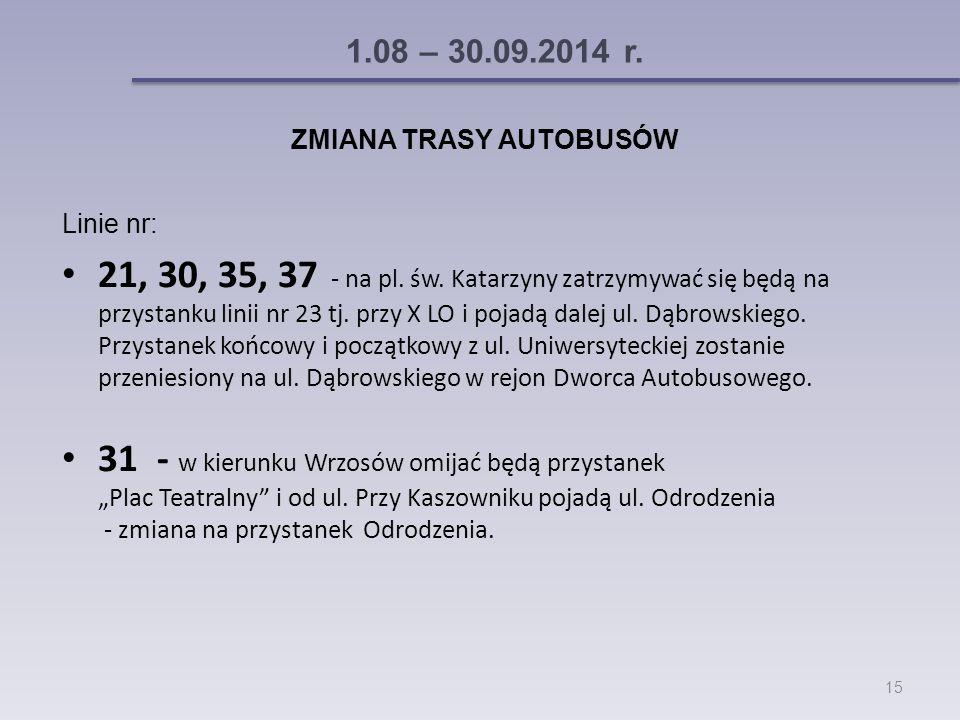 1.08 – 30.09.2014 r. ZMIANA TRASY AUTOBUSÓW Linie nr: 21, 30, 35, 37 - na pl.