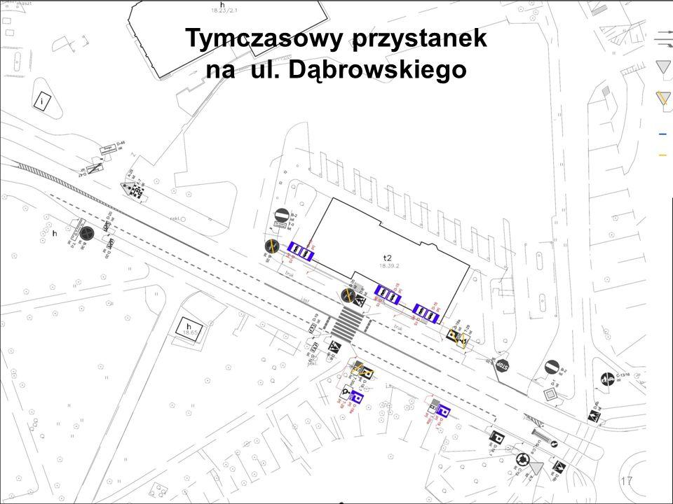 Tymczasowy przystanek na ul. Dąbrowskiego 17