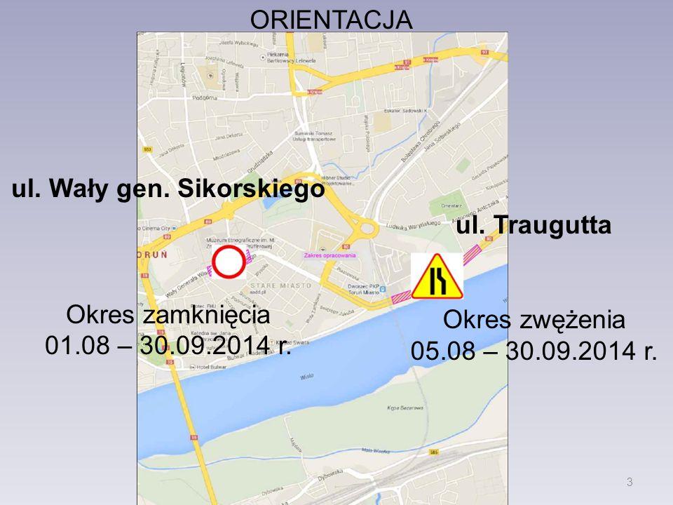 ORIENTACJA ul. Wały gen. Sikorskiego Okres zamknięcia 01.08 – 30.09.2014 r.