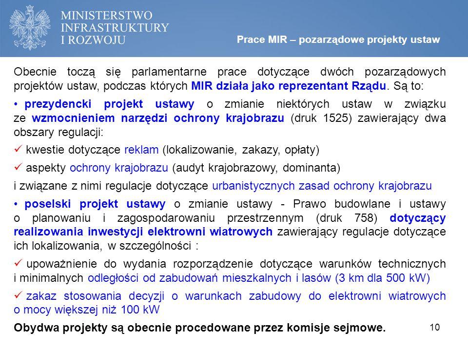 Obecnie toczą się parlamentarne prace dotyczące dwóch pozarządowych projektów ustaw, podczas których MIR działa jako reprezentant Rządu.