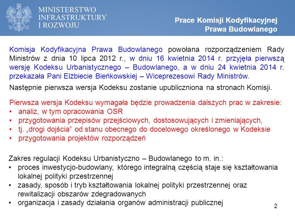Komisja Kodyfikacyjna Prawa Budowlanego powołana rozporządzeniem Rady Ministrów z dnia 10 lipca 2012 r., w dniu 16 kwietnia 2014 r.