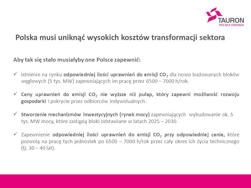 Aby tak się stało musiałyby one Polsce zapewnić: Istnienie na rynku odpowiedniej ilości uprawnień do emisji CO 2 dla nowo budowanych bloków węglowych (5 tys.