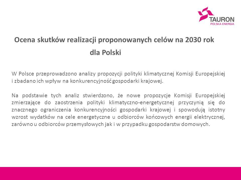Ocena skutków realizacji proponowanych celów na 2030 rok dla Polski W Polsce przeprowadzono analizy propozycji polityki klimatycznej Komisji Europejskiej i zbadano ich wpływ na konkurencyjność gospodarki krajowej.