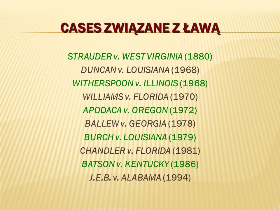 CASES ZWIĄZANE Z ŁAWĄ STRAUDER v. WEST VIRGINIA (1880) DUNCAN v. LOUISIANA (1968) WITHERSPOON v. ILLINOIS (1968) WILLIAMS v. FLORIDA (1970) APODACA v.