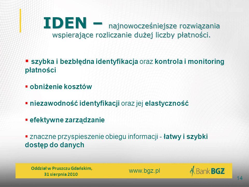 www.bgz.pl 14 IDEN – najnowocześniejsze rozwiązania wspierające rozliczanie dużej liczby płatności. IDEN – najnowocześniejsze rozwiązania wspierające