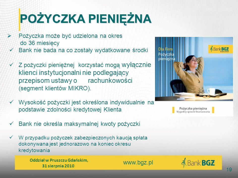 www.bgz.pl 19 POŻYCZKA PIENIĘŻNA  Pożyczka może być udzielona na okres do 36 miesięcy Bank nie bada na co zostały wydatkowane środki Z pożyczki pieni
