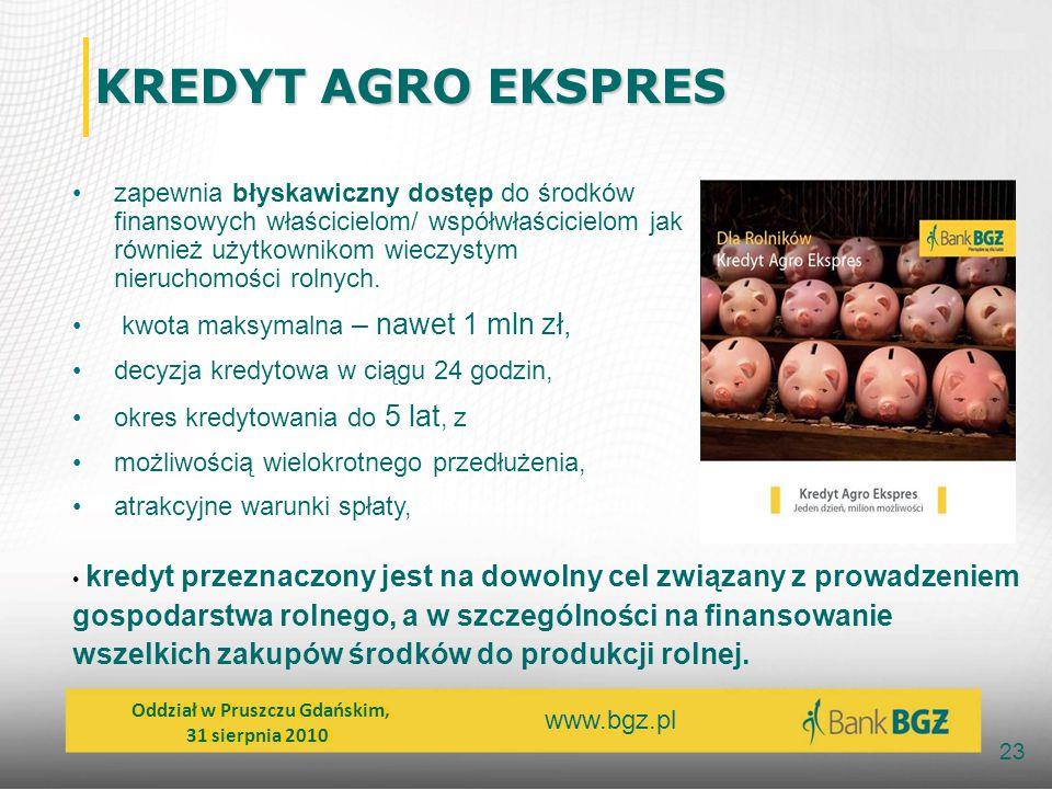 www.bgz.pl 23 KREDYT AGRO EKSPRES KREDYT AGRO EKSPRES zapewnia błyskawiczny dostęp do środków finansowych właścicielom/ współwłaścicielom jak również